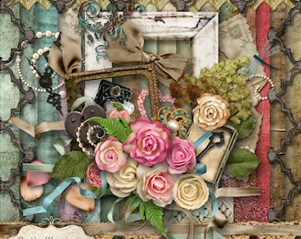 PAPER ROSES - Digital Scrapbooking Kit - 18 Beautiful Papers - 60 Elements -