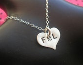 FML Necklace--Heart Charm Necklace, Heart Necklace, Metalwork Stamped Sterling Silver Heart, Handmade, Metal Taboo