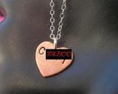 C .NT Necklace--Heart Charm Necklace, Rihanna, Copper Heart Necklace, Copper Pendant, Mature, Slut, Whore, Metal Taboo