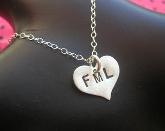 Bad Day, FML, My Life is Strange, My Life Sucks, Broken Heart Charm Necklace, Heart Necklace, Metalwork Stamped Sterling Silver Heart