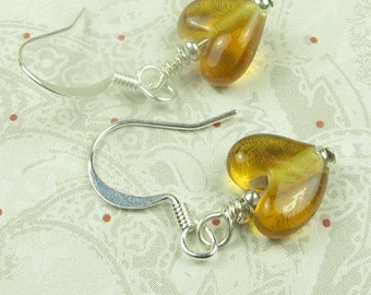 AmberTransparent Heart Glass earring, valentines day, holidays, birthdays, November