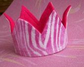 Mini Felt Fabric Pink Zebra Crown Photo Prop 40% OFF