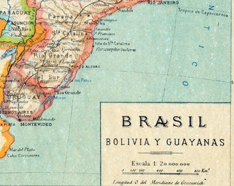 1940 Spanish Vintage Map of Brazil, Bolivia, and the Guianas - Brazil Antique Map - Bolivia Antique Map