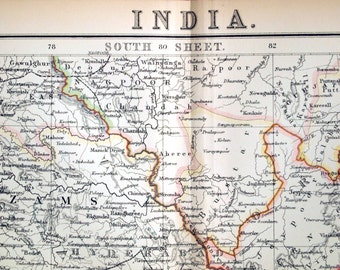 1890 Antique Map of India - Southern Sheet - With Ceylon - Large Two-Page Special Library Edition