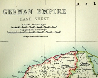 1890 Antique Map of the German Empire - East Sheet - Large Special Library Edition