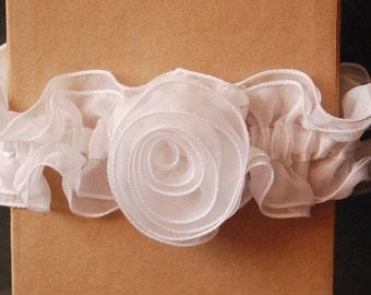 White Chiffon Bridal Garter with Handmade Rosette - Bryce