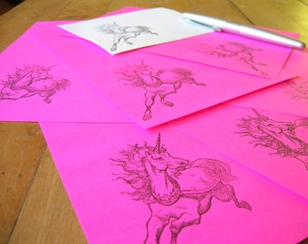 running unicorn letterset stationery in neon pink or whatever you choose with a unicorn envelope