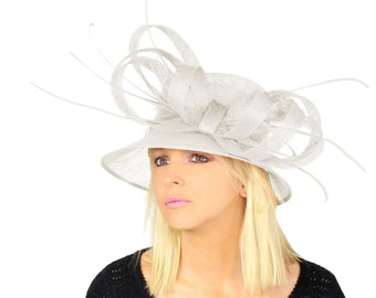 Fab and Fun Sinamay Hat With Bow and Feather Trim for Kentucky Derby and Ascot - Different Colours Available