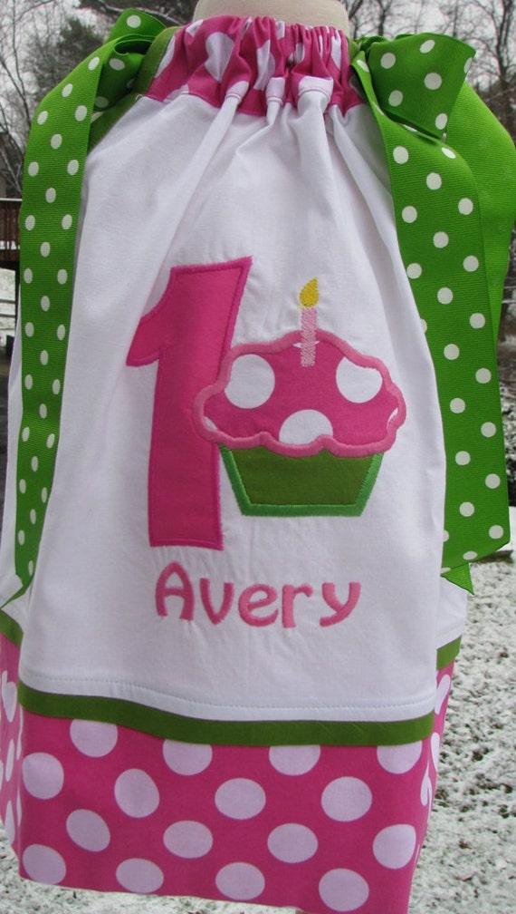 Pink and White cupcake pillowcase dress, 1st birthday dress, 2nd birthday dress, cupcake birthday, birthday dress