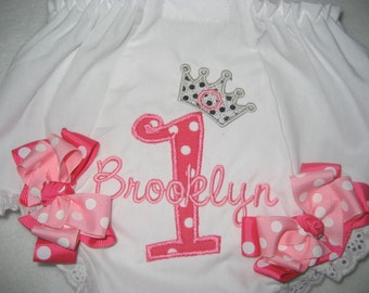 Boutique First Birthday Princess number one monogrammed bloomers with bows