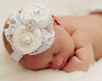 Baby headbands All White ..Baby Hair bows..Hair bow..Baptism headband....Christening Headbands....fits toddlers...girls