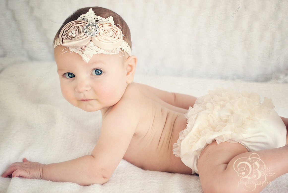 ivory cover for lace bloomers and headband infant headband and cover ivory baby headband by