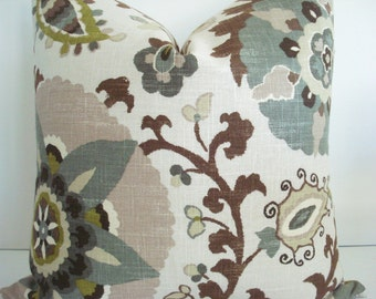 BOTH SIDES Linen--P Kaufmann - Decorative Pillow Cover-SILSILA -Rhinestone-Chocolate-Grey-Tan- Green- Beige -Cream  Throw/Lumbar Pillow