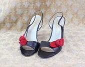 SALE Vintage Heels Black Leather Kitten Heel Sling Backs Red Rose Size 6 1/2 European 37