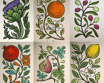 Your Choice of 4 Original Botanical gardening art hand painted block prints on acid free recycled card stock