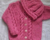 Roisin Cable Cardigan and Hat PDF knitting pattern for baby and toddler
