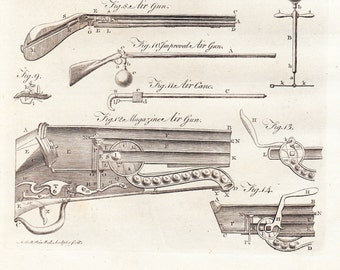 Antique Aerology Print . Plate VIII . copper plate engraving encyclopedia britannica dated 1797 old vintage art magazine air gun, air cane