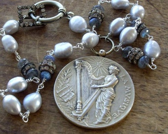 Antique Assemblage Necklace French Sterling Silver Antique Art Medal, Pearls, Rhinestones, Labradorite