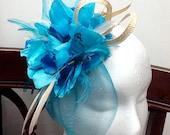 "Blue fascinator -  ""FAVORITE"" turquoise fascinator hat, cream fascinator, wedding hat"