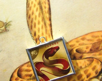 Snakes Chinese New Year Astrology Zodiac Glass Serpent Postage Stamps Ornament Pendant Fathers Day Easter Red Charms