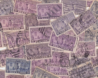 20 x Vintage Special Delivery Shades of PURPLE US Postage Stamps for Altered Arts Mixed Media Collage