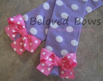 Lavender Polka Dot Bow Leg Warmers with Hot Pink polka dot Bows