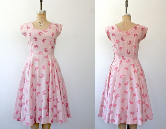 1950s beaded dress / linen and feathers / Fortuna dress