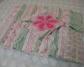 Vintage Chenille Squares - 21 - 6 inch - Pink Rosebud