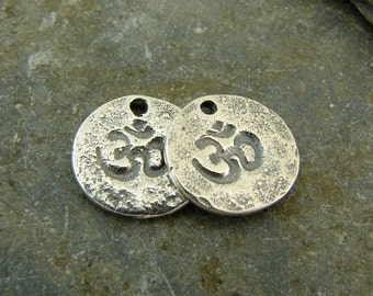 Tiny Hammered Om - Artisan Sterling Silver Om Disk Charms - One Pair - ctho