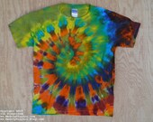 Rainbow Spiral Tie Dye T-Shirt (Fruit of the Loom Size Youth M 10-12) (One of a Kind)