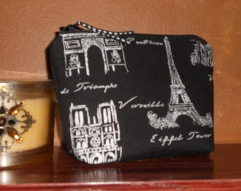 Make Up Bag / White on Black Sketches of Paris  / Brides Maid Gifts / Spa bag / Organizer / Cell Phone / Coin Pouch