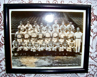 "Vintage 1942 Phillies ""Phils"" Baseball Team/Framed Photo / Sepia/Black and White / Original Photo/ON SALE"