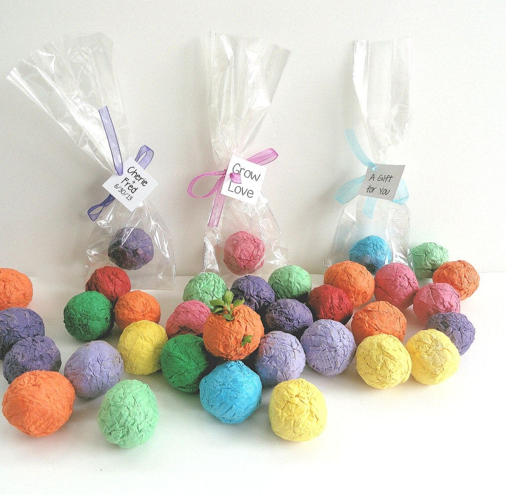 100 Flower Seed Balls Wedding Favors Party Favors By NatureFavors