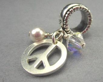 Peace Sign Bracelet Charm In Sterling Silver European