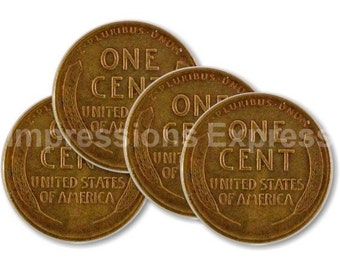 Wheat Penny Coin Coasters - Set of 4