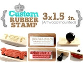 3 x 1.5 in - YOUR CUSTOM DESIGN - Art Wood Mounted Rubber Stamp - For Logo, Branding, Packaging, Invitations, Party, Favors