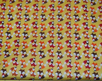 Fat Quarter Adorable Little Foxes on a Golden Yellow Background