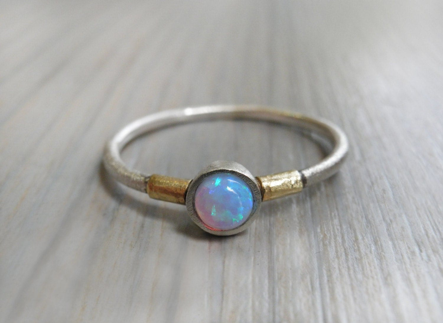 Opal Engagement Ring Minimalist Ring Sterling Silver And
