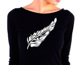 Womens Long Sleeve Tshirt - Feather Top  - American Apparel - 3/4 Sleeves - Boat Neck - small, medium, large, xl