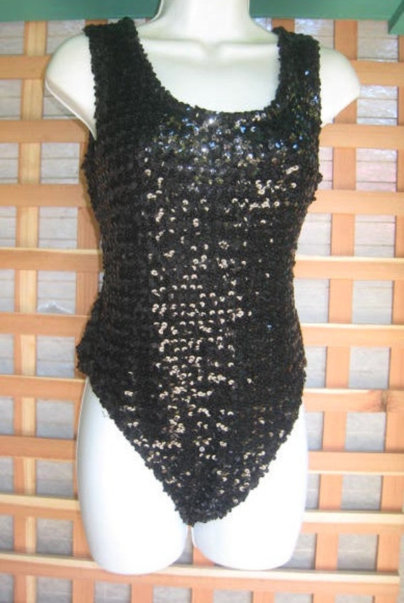 50s Black Sequin Leotard Pin Up Burlesque Show Girl By