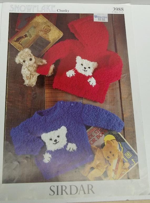 Baby Bear Hoodie Knitting Pattern : baby boys girls polar bear sweater knitting pattern leaflet