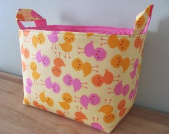 LARGE Fabric Organizer Basket Storage Container Bin Bucket Bag Diaper Holder Home Decor Toy - Size Large - Urban Zoologie 3 Chicks in Spring