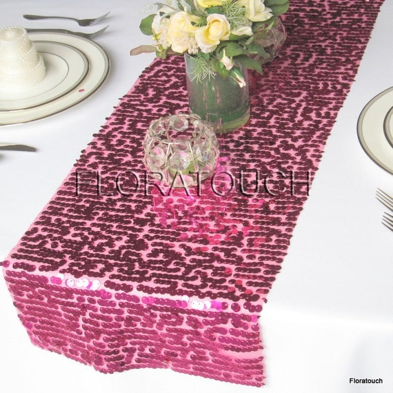 Runner Table table Wedding Runner  Fuschia Sparkling Sequins runner Table length overhang