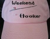 Weekend Hooker- Ladies Embroidered Pink Hat-Fishing