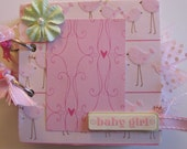 Just reduced-Pink and Green Baby Girl Premade Mini Scrapbook
