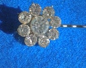 Vintage Rhinestone Flower Earring Repurposed to Hair Pin - SALE