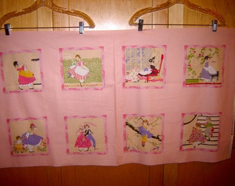 Fabric In the Beginning  DECO DARLINGS Antebellum Era Children Fashions PANEL Pink