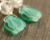 Mint Julep glass leaf earrings