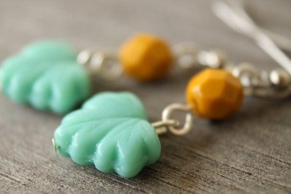 Citrus Mint leaf earrings