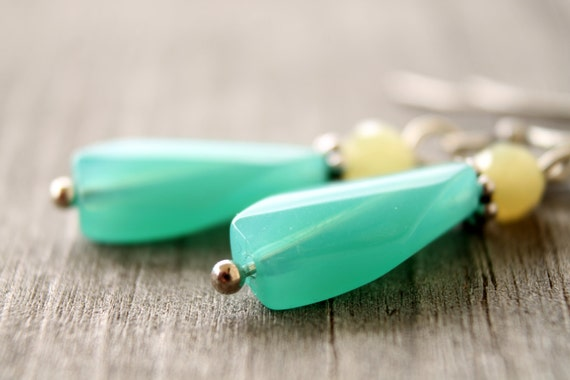Aqua and yellow colorful glass and jade earrings